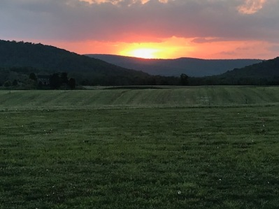Sunset view of the Blue Ridge and Short Hill Mountains